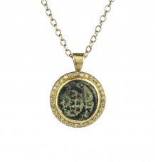 Ancient Coin White Diamond Pendant Necklace