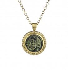 Ancient Coin White Diamond Pendant Necklace