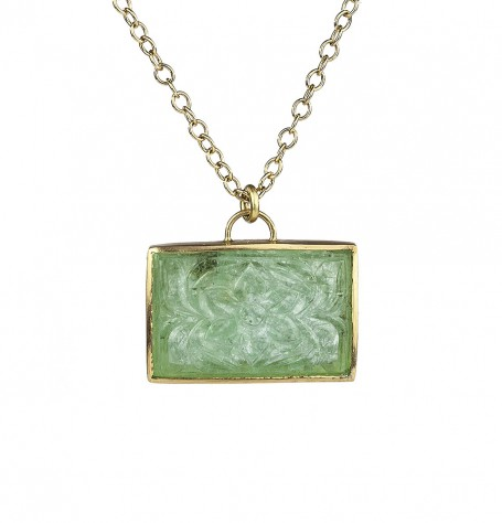 Carved Emerald Pendant Necklace