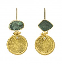 Gold Ottoman Coin and Teal Diamond Earrings