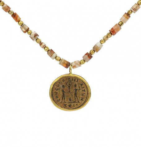 Roman Coin and Carnelian bead Necklace