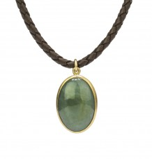 Jade Cabouchon Pendant on Braided Leather Necklace