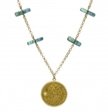 Ancient Gold Coin and Tourmaline Necklace