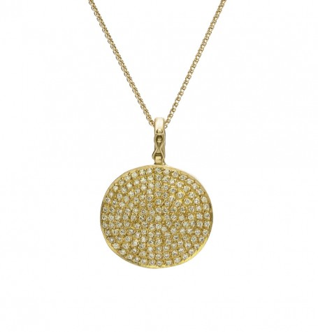Byzantine Coin Pave Diamond Pendant Necklace