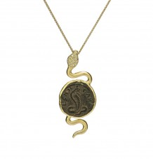 Ancient Coin White Diamond Snake Pendant Necklace