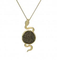 Ancient Coin White Diamond Snake Pendant Necklace