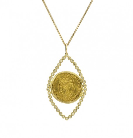 Gold Coin White Diamond Necklace