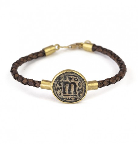 Byzantine coin leather bracelet