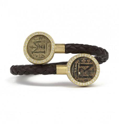 Byzantine coins with white diamonds wrap bracelet