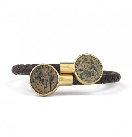 Roman coins leather wrap bracelet