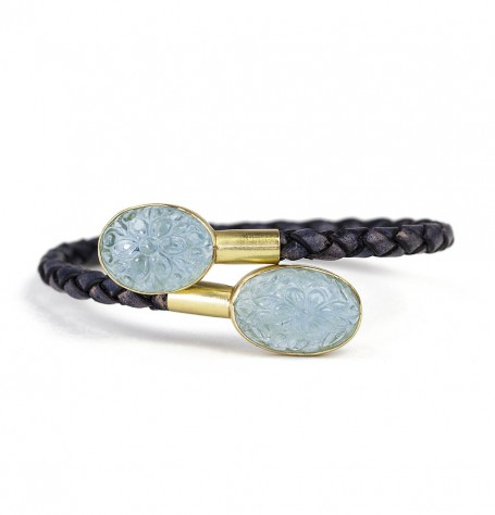 Carved Aquamarine bracelet