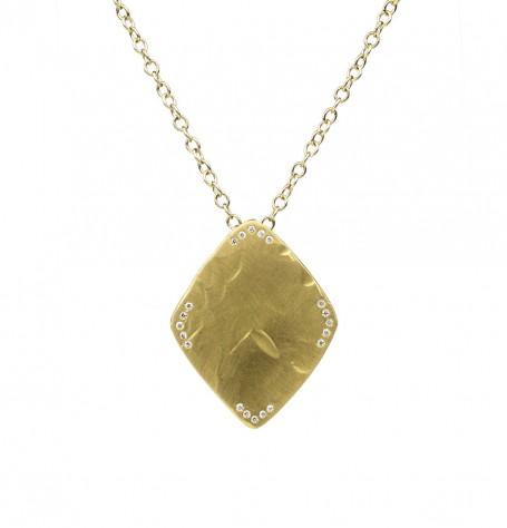 22k gold shield pendant necklace
