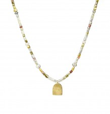 Grey diamonds carnelian beads gold necklace