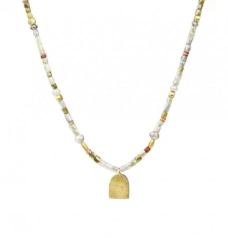 Grey diamonds carnelian beads gold necklace