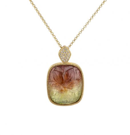 Watermelon Coloured Tourmaline Pendant necklace