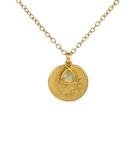 Byzantine Gold Coin and Opal Pendant Necklace
