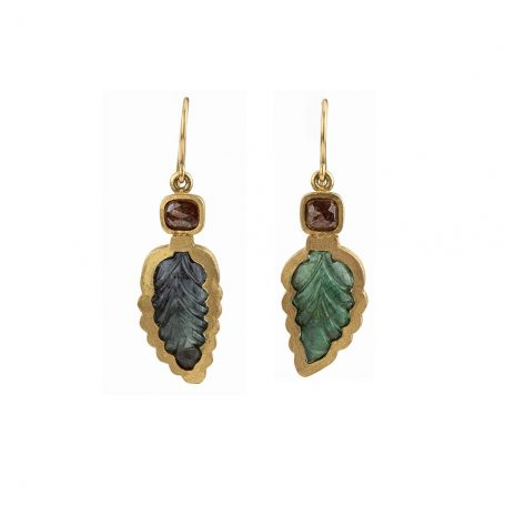 Tourmaline Leaf and Diamond Earrings