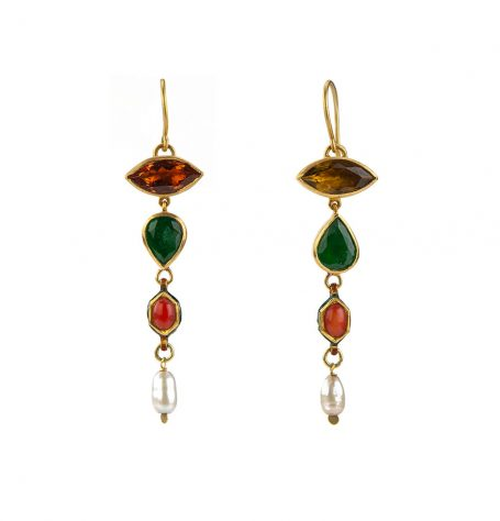 Tourmaline Emerald and Antique Coral Earrings