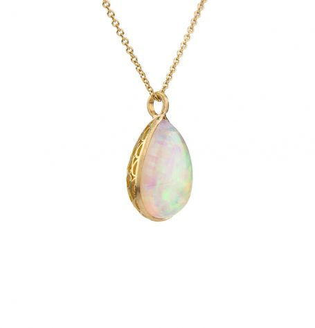 Opal Filigree Pendant Necklace