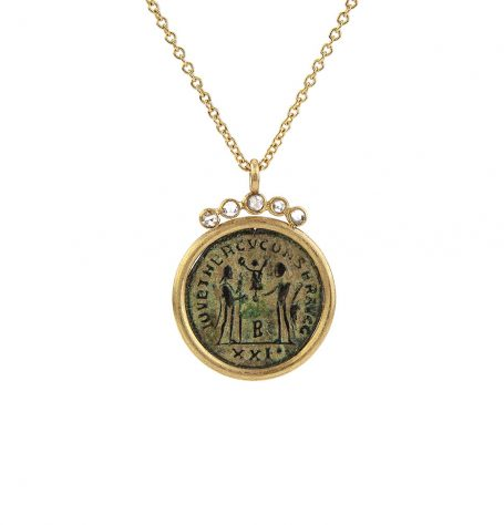 Roman Coin White Diamond Pendant Necklace