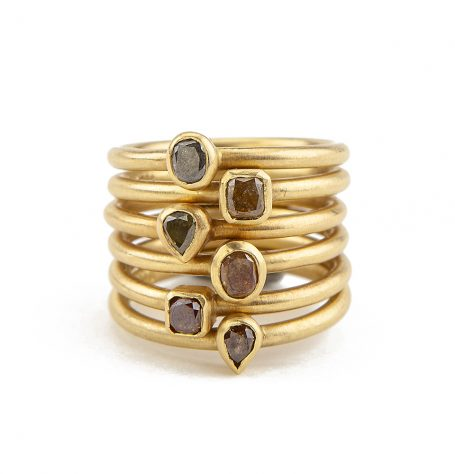 18K Diamond stacking rings