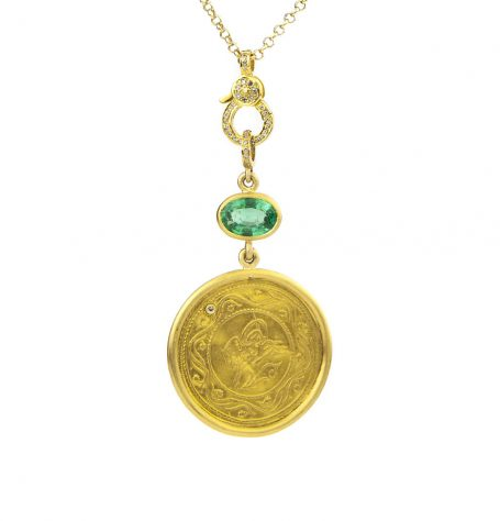 Antique Gold Coin and Emerald Necklace