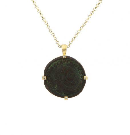 Antique Roman Coin Diamond Necklace