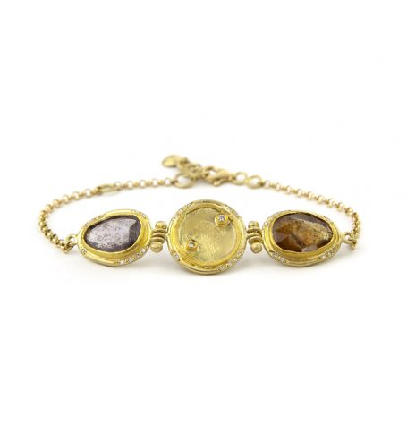 Antique Gold Coin and Sapphire Bracelet