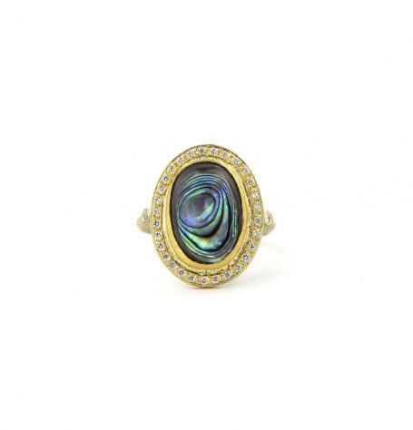 Paua Shell White Diamond Ring