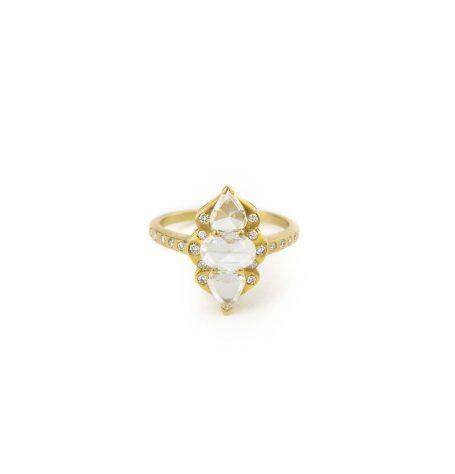 Triple Rose Cut Diamond Ring