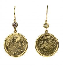 Gold Coin and Diamond Earrings