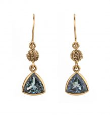 Tourmaline Antique Gold Coin Earrings