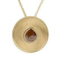Gold Medallion Diamond Slice Pendant Necklace