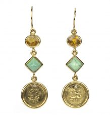 Turquoise Sapphire and Antique Gold Coin Earrings