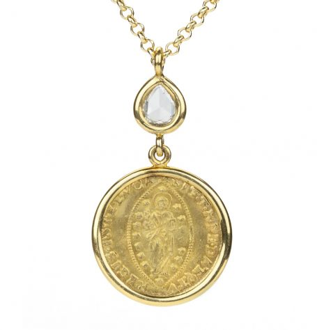 Gold Coin and Rose Cut Diamond Necklace