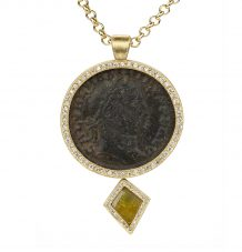 Roman Coin and Kite Diamond Necklace