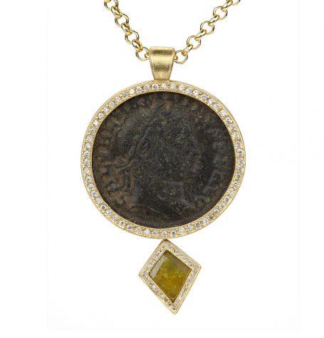 Roman Coin and Kite Diamond Necklace