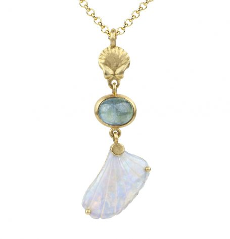 Opal Shell and Aquamarine Necklace