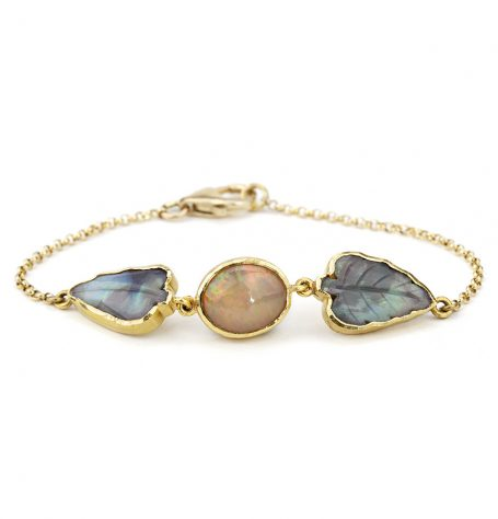 Carved Opal Leaf Bracelet