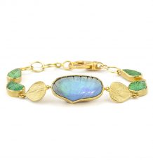Carved Opal and Emerald Bracelet