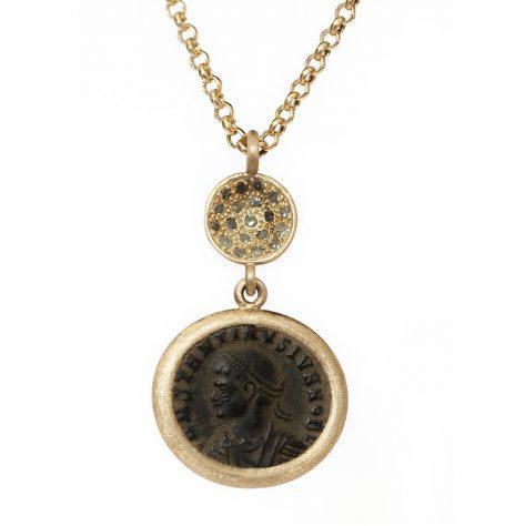 Bronze Roman Coin Green Pave Diamond Necklace