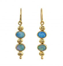 Australian opal gold nugget earrings