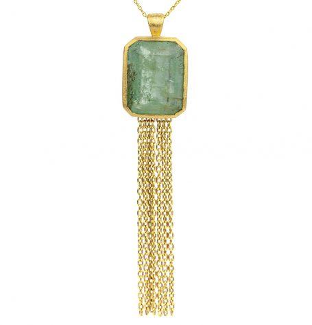 Emerald Tassel Pendant Necklace
