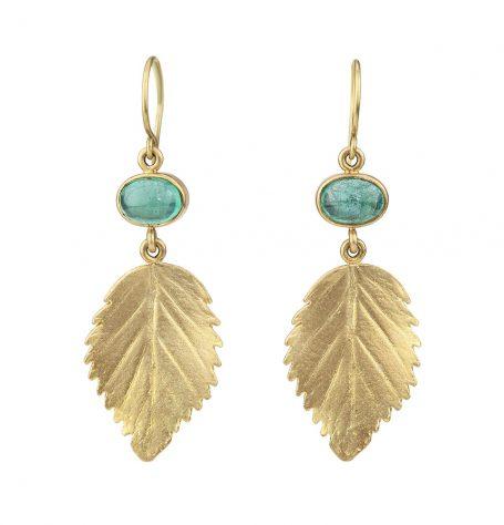 Emeralds and gold leaf earrings
