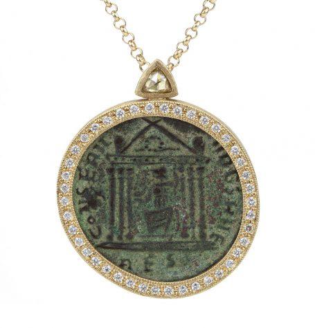 Antique coin with trillion diamond