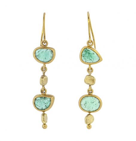 Emeralds with gold nuggets