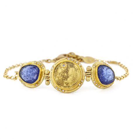 Antique coin and Tanzanites bracelet