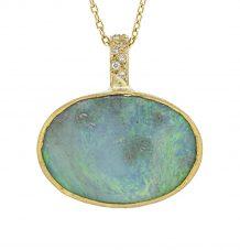 Australian opal pave diamond reversible pendant