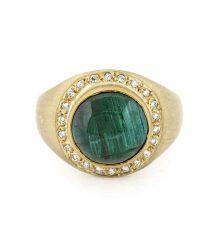 Cats eye green tourmaline ring