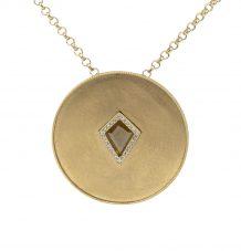 18k gold medallion disc pendant